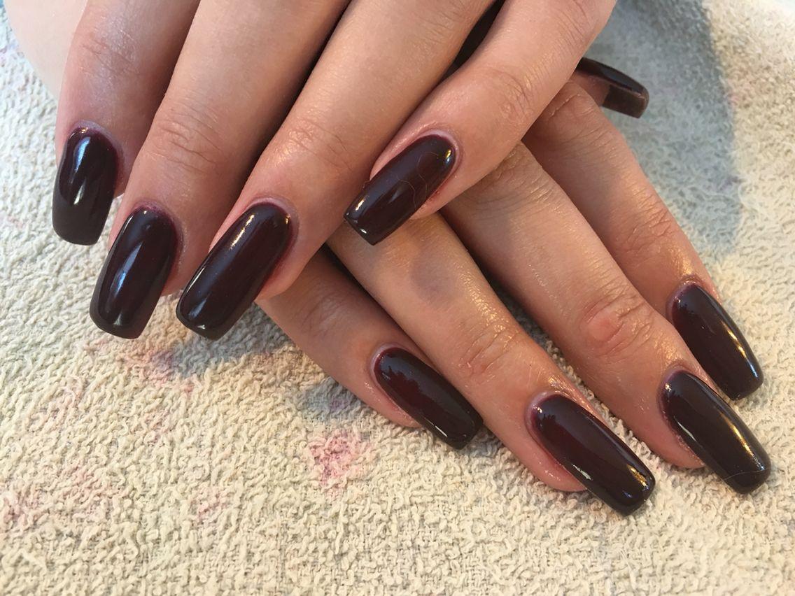 Long dark burgundy nails | Nails | Pinterest