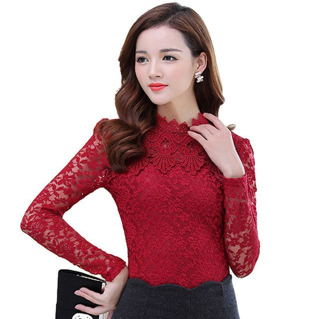2017 Spring Summer Women Tops Fashion Lace Blouse Long Sleeve Slim ...
