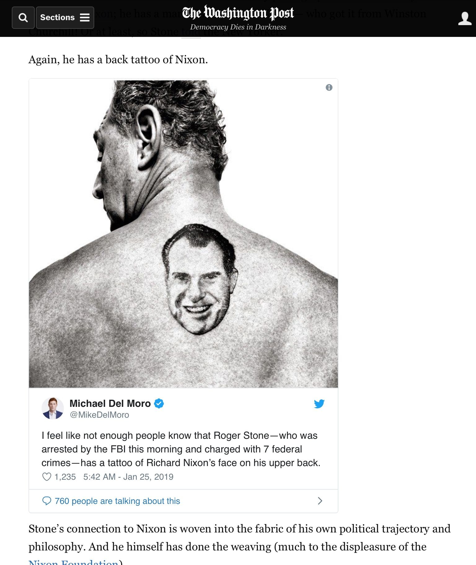 Nixon Marble Face: Why Roger Stone Is Always Pictured In A Pose Richard Nixon
