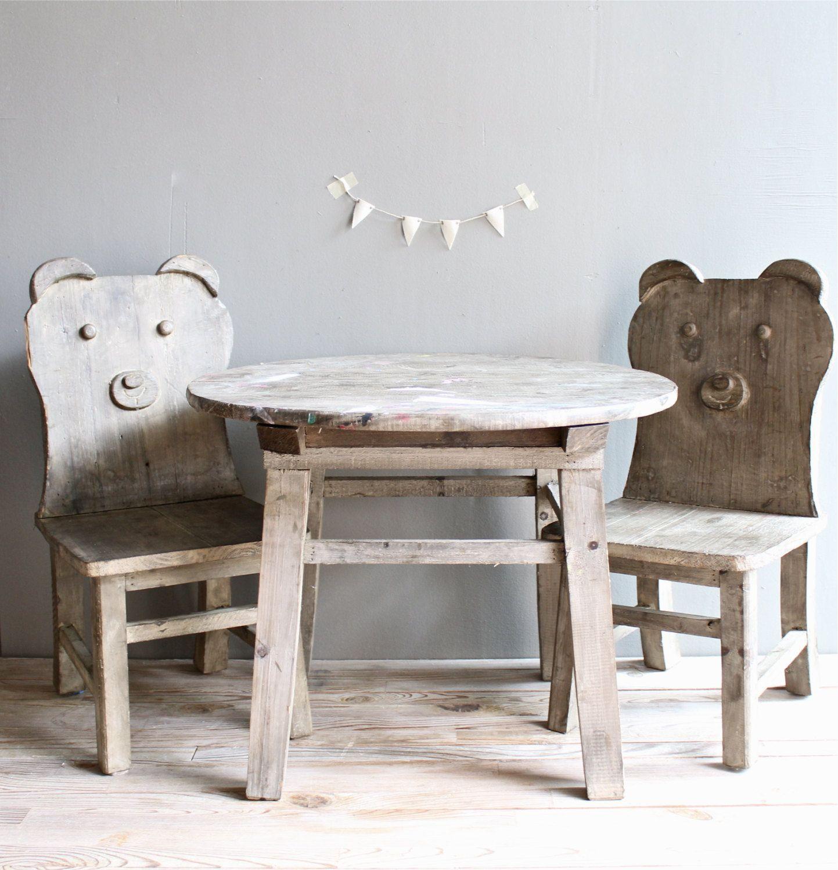 Vintage Wooden Set Children Table W Chairs