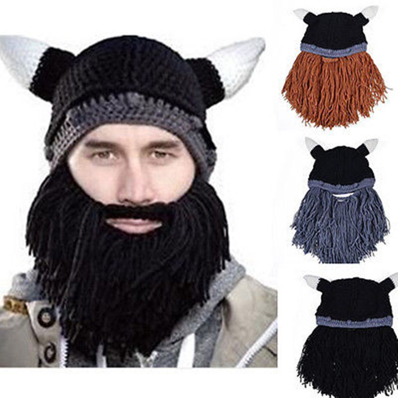 094bd797ad5 Click to Buy    New Winter Men s Beard Hat Warm Novelty Barbarian Looter