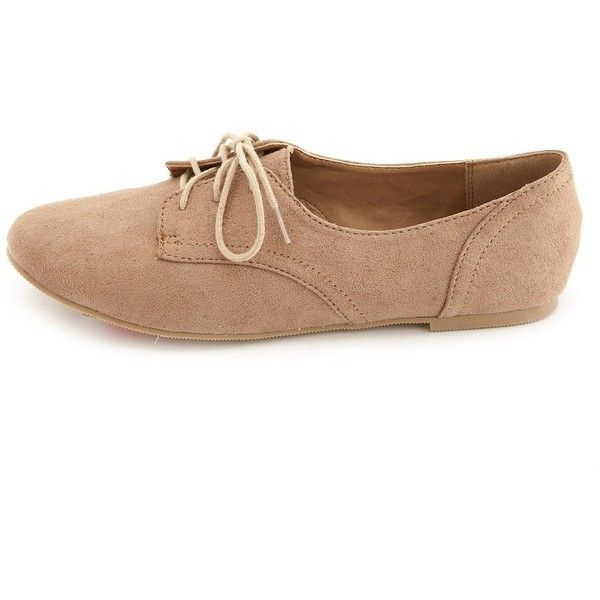 Charlotte Russe Lace-Up Low Profile Oxfords ($11) ❤ liked on Polyvore featuring shoes, oxfords, flats, zapatos, sapatos, taupe, charlotte russe, flat pumps, charlotte russe shoes and lace up flats