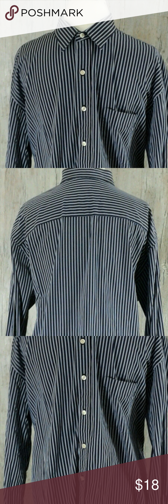 Austin Reed London Men S Ls Striped Shirt Xl Striped Shirt Blue Striped Shirt Striped