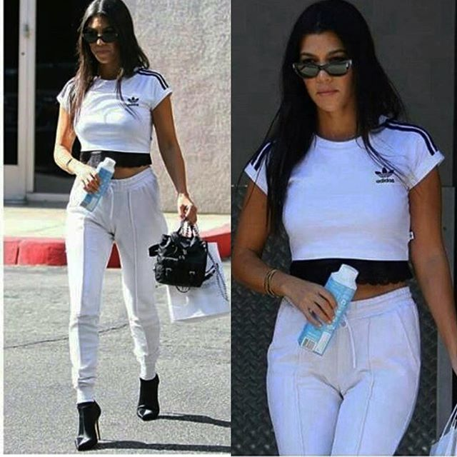 55f952c7e97 Kourtney Kardashian wearing the Josie Natori Chantilly Lace bustier while  out and about in her summer sweats  danimichellestyle  kourtneykardashian    ...