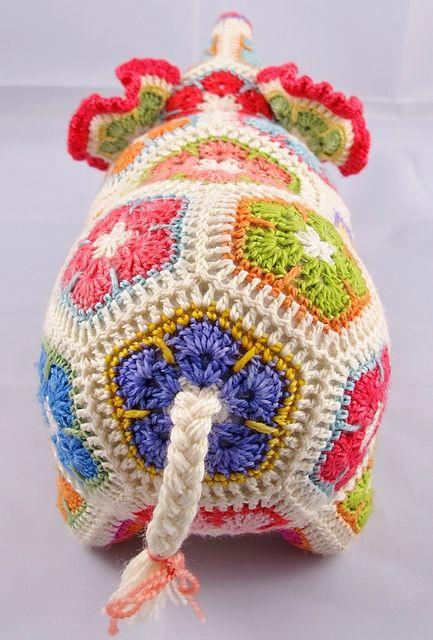 Nellie the Elephant African Flower Crochet Pattern pattern by Heidi ...