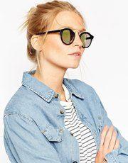 Gafas de sol de montura redonda con lentes flash y puente de metal de ASOS