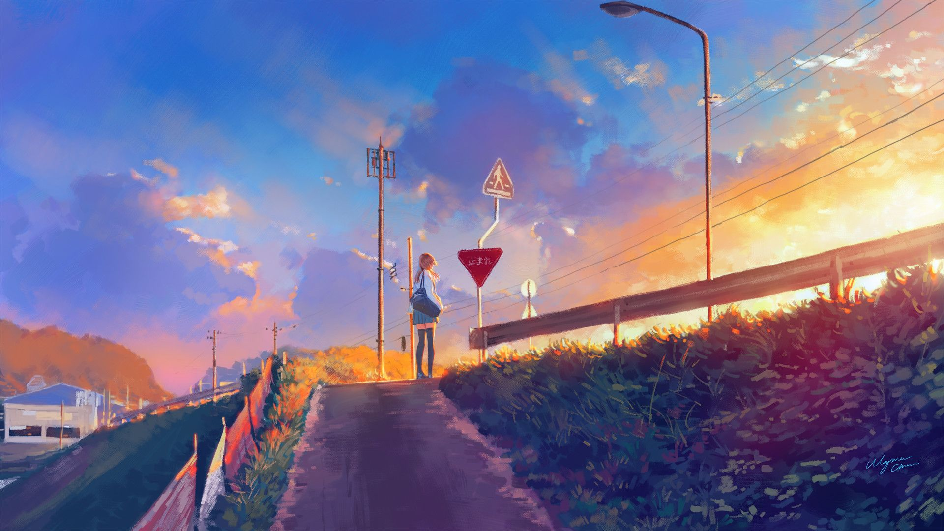 Anime Sunset By Wayne Chan Anime Scenery Sky Anime Background Images
