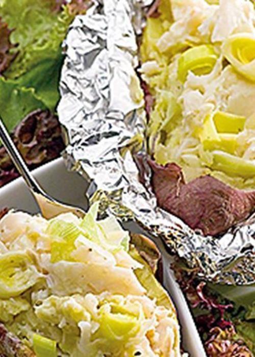 Batata doce com recheio de bacalhau