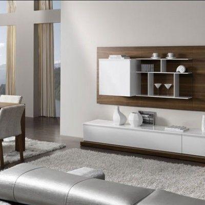 mueble-salón-blanco-nogal | Centros de entretenimiento | Pinterest ...