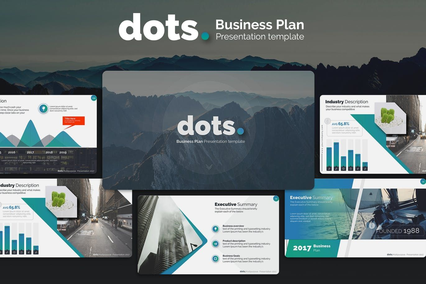 Dots Business Plan Powerpoint Template By Premast On Envato Elements Business Plan Presentation Business Planning Creative Business Plan