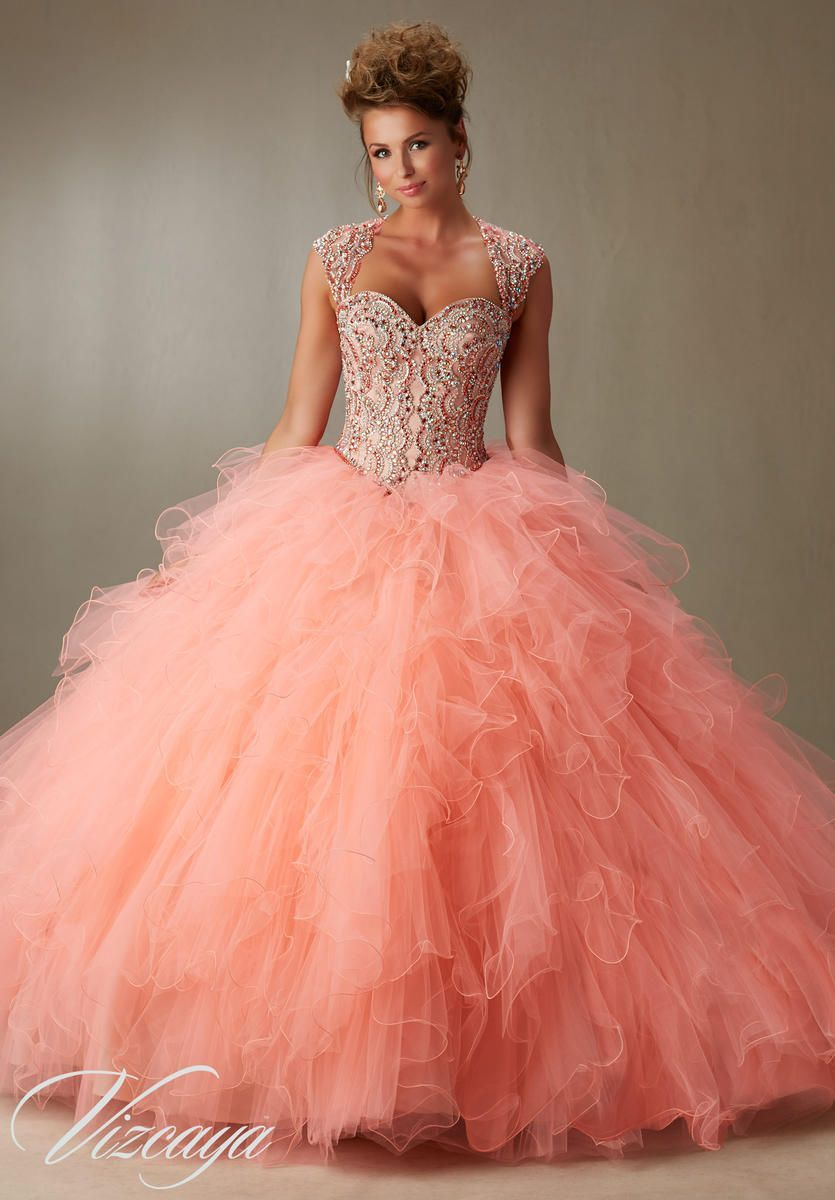 Vizcaya 89068 Ruffled Tulle Ball Gown with Crystals