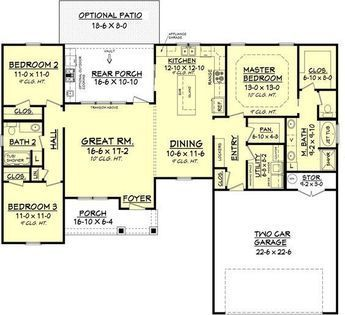 Great Farmhouse Style House Plan   3 Beds 2 Baths 1609 Sq/Ft Plan #430 77 Floor  Plan   Main Floor Plan   Houseplans.com. Make Kitchen Wall Even With Diniu2026