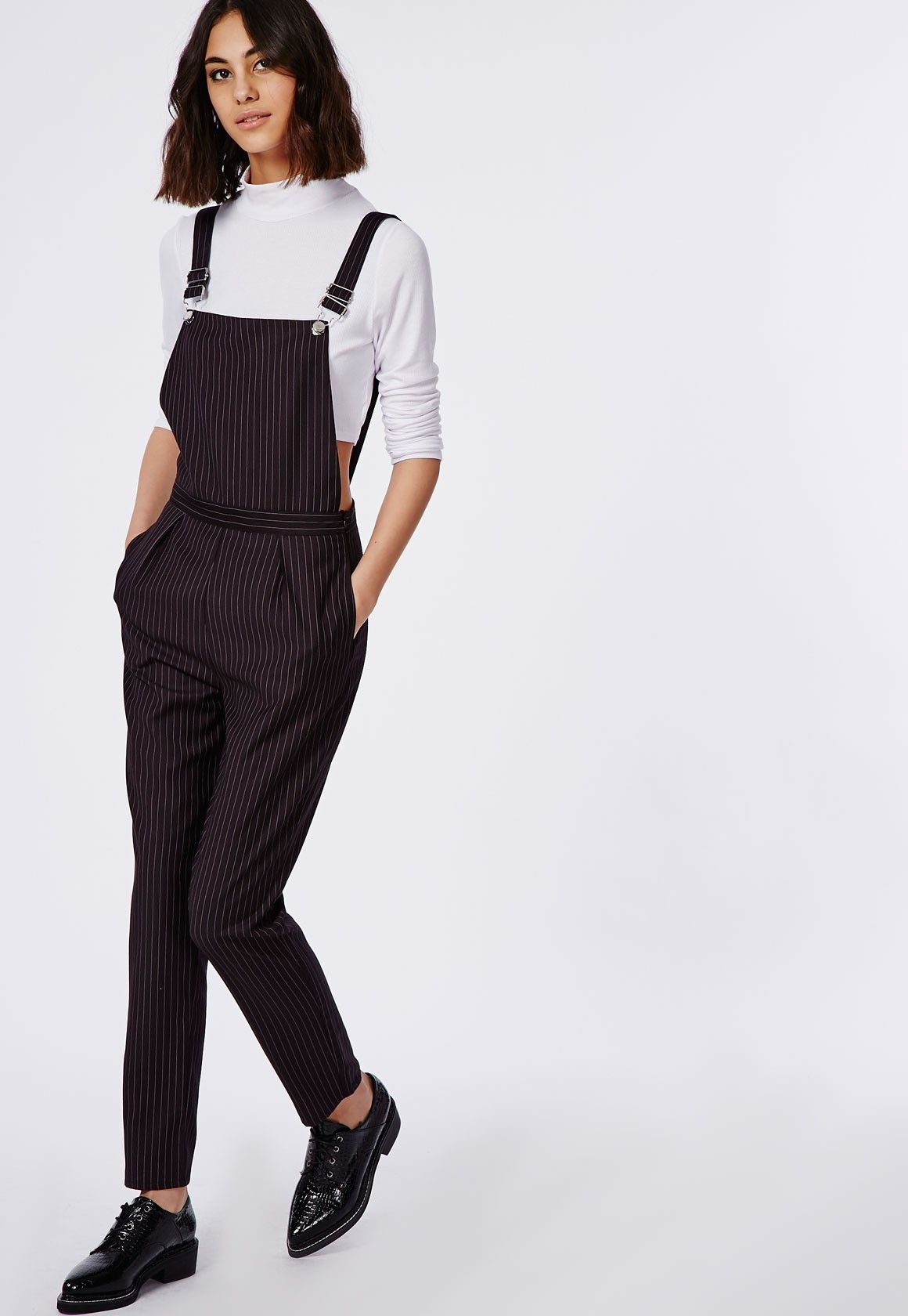79898593c2f Tailored Pinstripe Overalls Black - Jumpsuits - Missguided ...