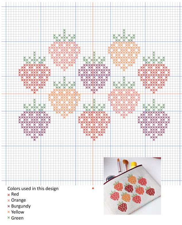 Embroidery  Cross Stitch  Free Chart Strawberry Design  Cross