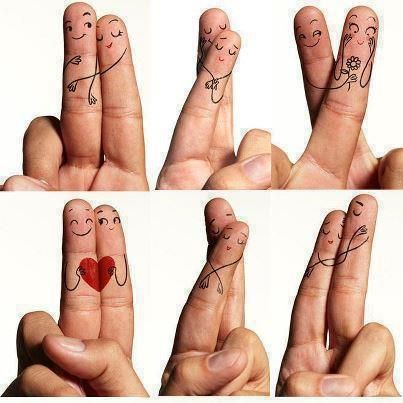 """Fingers in love:)"" - Now we can play more than footsies; grab a couple pens and take turns with our finger lovers. What will the two of us draw? ~:^)>"