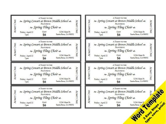 Event Tickets, Editable WORD Template, Printable, Instant Download