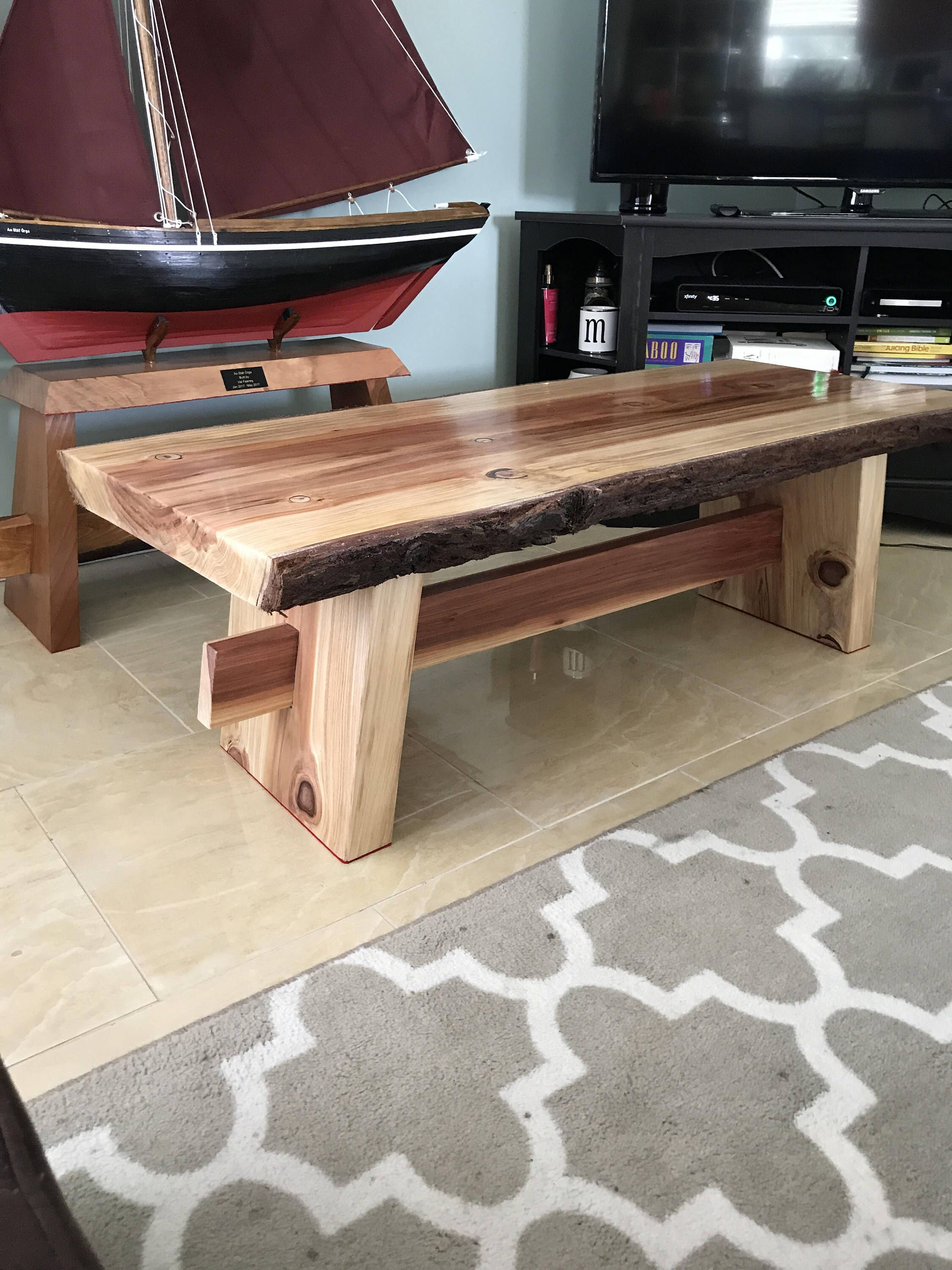 Double Live Edge Redwood Coffee Table. Great Character Piece For Any Living  Room! Ships