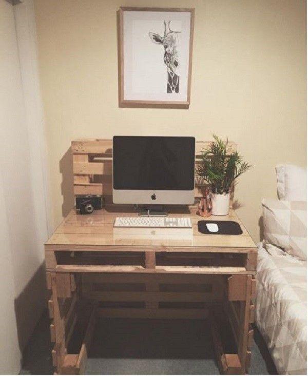 19 Diy Desk Ideas To Inspire A Home Office Makeover Pallet Furniture Pallet Desk Furniture