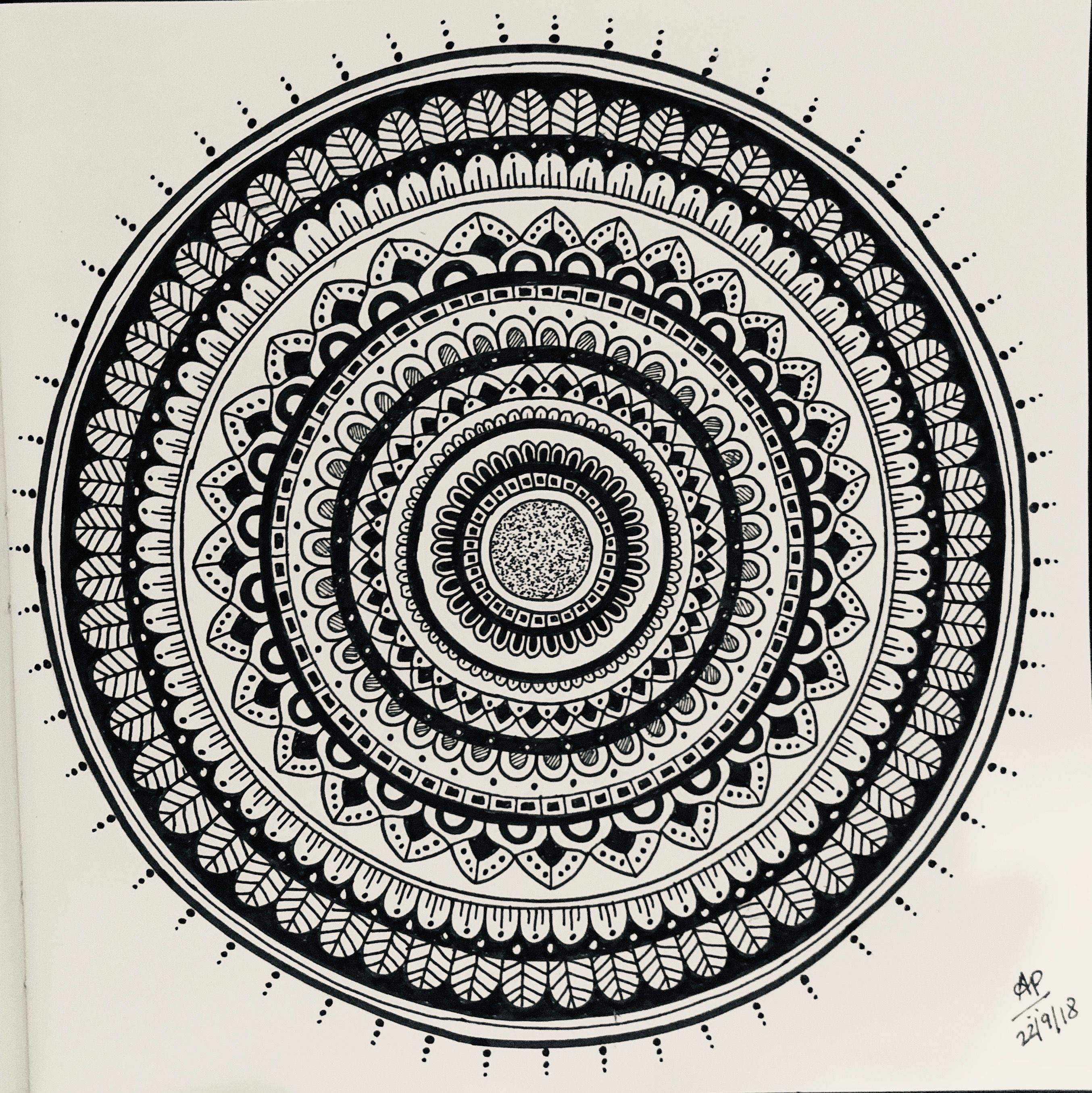 Mandala Design . Free Hand Black And White Mandala