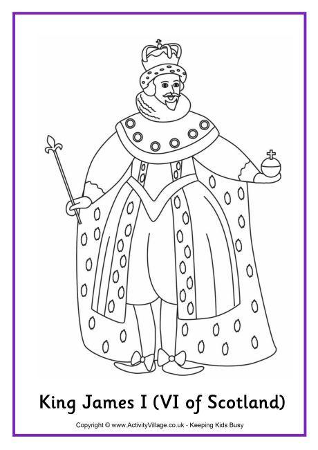 King James I colouring page 9 | History coloring sheets | Coloring ...