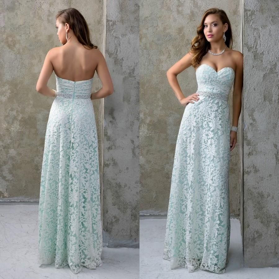 2016 Elegant Full Lace Prom Dresses With Beaded Crystals Sash ...