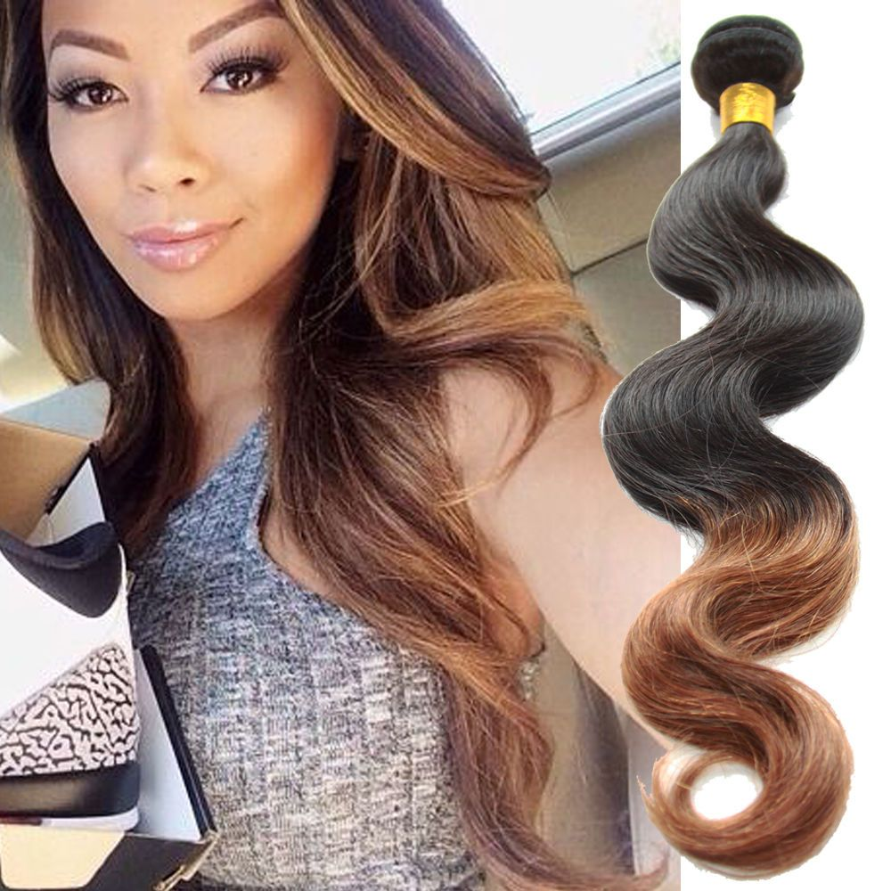 200g 1B/30 Ombre 2Tone Real Human Hair Extensions Grade