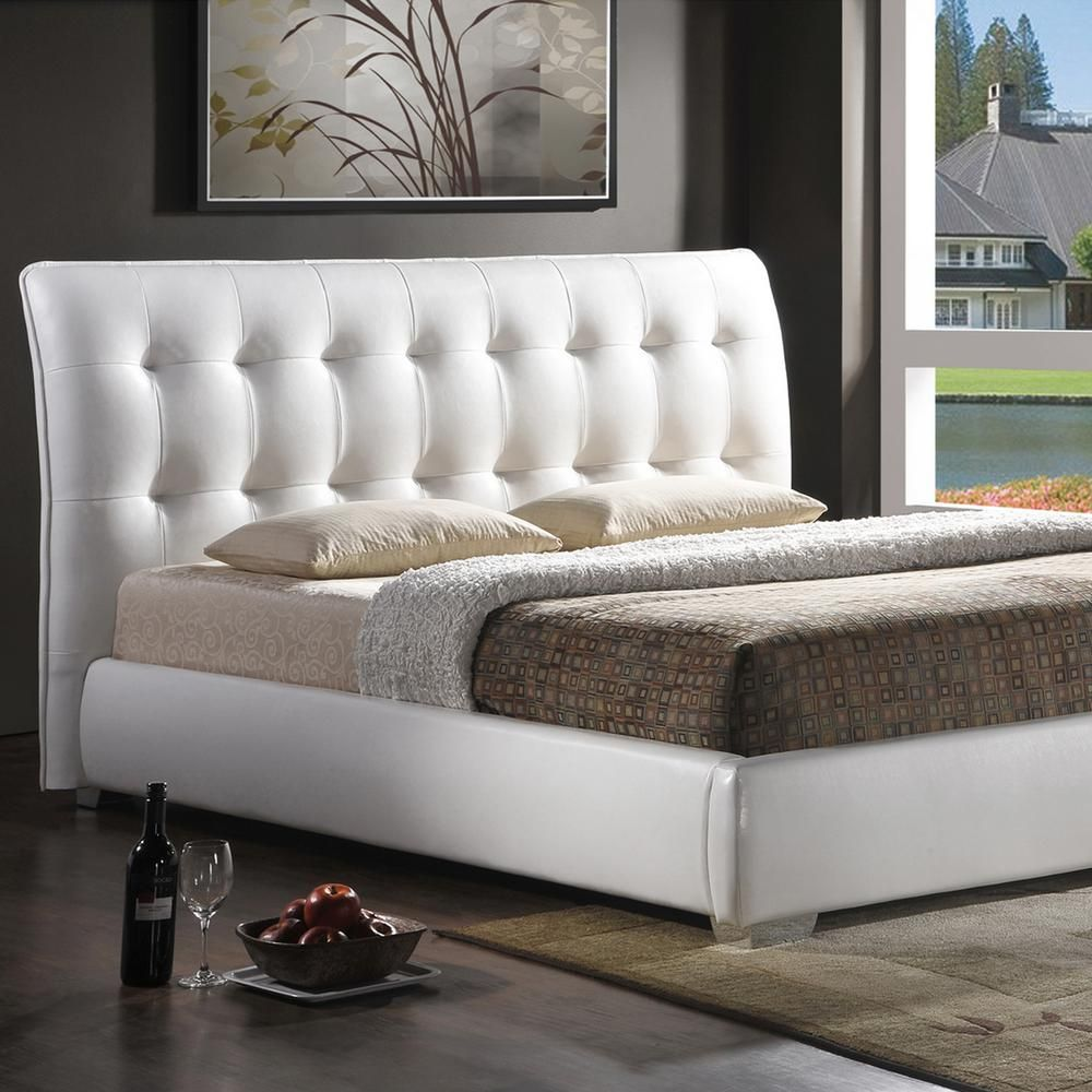 a6cdf63666201c Baxton Studio Jeslyn Transitional White Faux Leather Upholstered King Size  Bed
