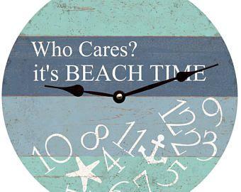 Whatever I M On Beach Time Clock Whatever Wall Clock Etsy Beach Time Clock Beach Time Beach Cottage Decor