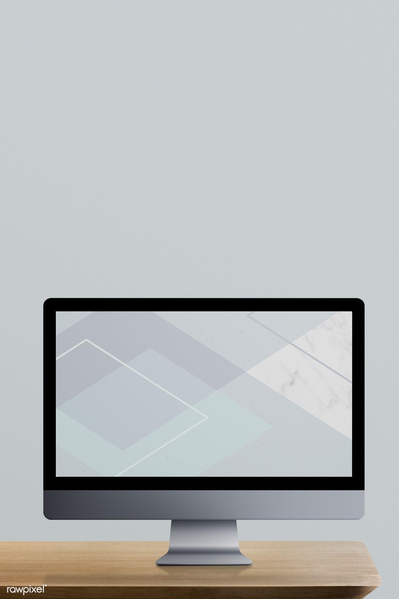 Download Premium Psd Of Desktop Computer With Screen Mockup On A Wooden Desktop Computers Computer Mockup Computer