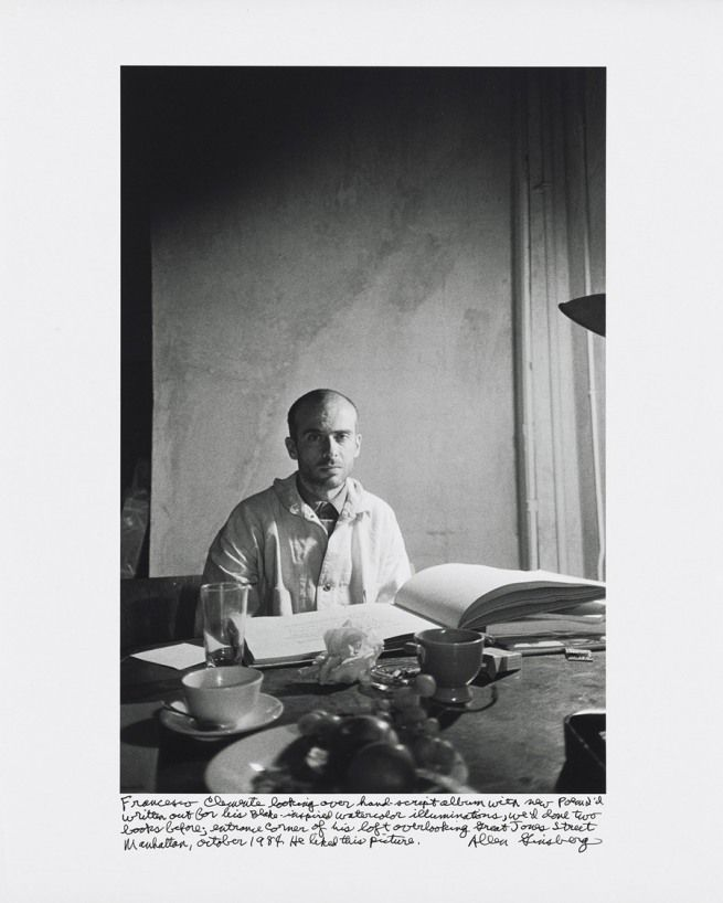 Allen Ginsberg  'Francesco Clemente looking over hand-script album with new poem I'd written out for his Blake-inspired watercolor illuminations…Manhattan, October 1984…'  1984  gelatin silver print  image: 40.4 x 27 cm (15 7/8 x 10 5/8 in)  sheet: 50.5 x 40.5 cm (19 7/8 x 15 15/16 in)  National Gallery of Art, Gift of Gary S. Davis