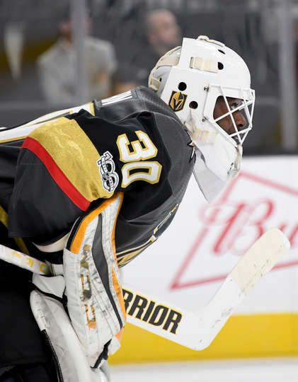 Las Vegas Nv October 15 Malcolm Subban 30 Of The Vegas Golden Knights Stands In The Crease During A Break In Th Golden Knights Vegas Golden Knights Bruins