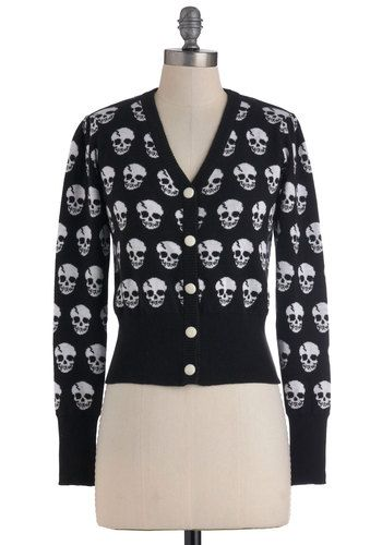 Skulls in Session Cardigan in Black. If you're looking to break free from a ritual of wearing blas, uninspiring button ups, the allover stylized skull print of this ribbed, V-neck cardigan could be your style antidote! #black #modcloth