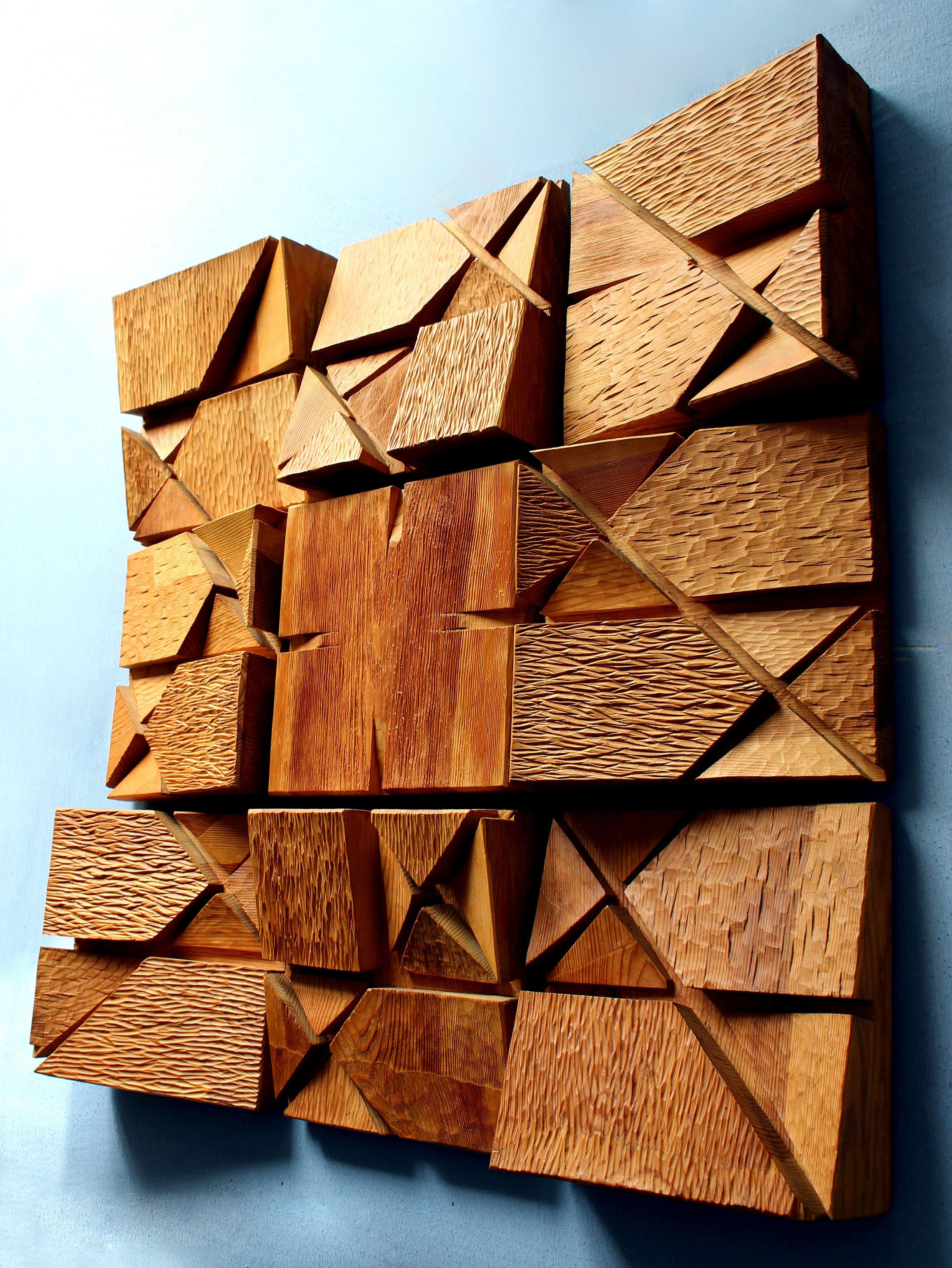Original Large Wood Wall Sculpture Rhythm Modern Geometric
