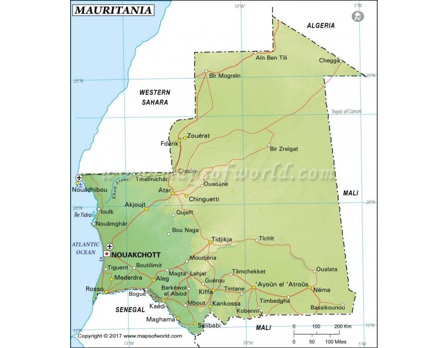 Mauritania Map | #store mapsofworld | Country maps, Map, Africa