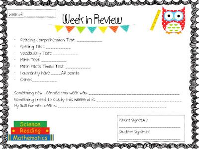 Weekly Progress Report Folders for Parents 4th grade Pinterest - weekly progress report template