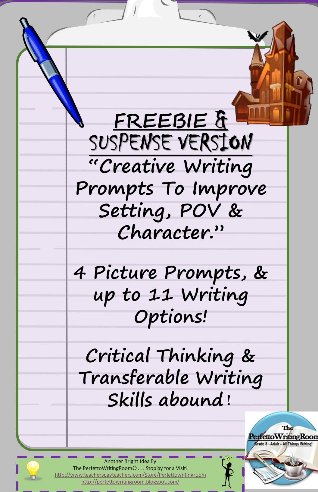 A FREE version of our best selling 3-month writing improvement prompt package, ENJOY this Suspense and Creepy writing FREEBIE hand-selected for you and your class. 4 prompts with 11 writing options!