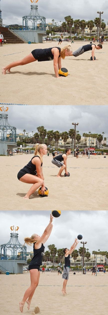 Sara Hughes and John Mayer show you how to use medicine ball to add some oomph to your game!