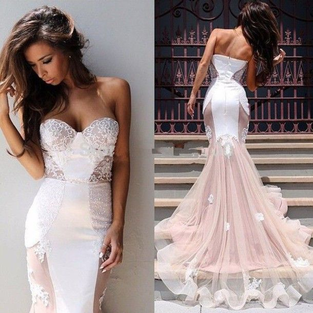 Bustier Dress Wedding Lace Train Prom Long