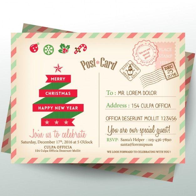 Старинные открытки письмо Рождество Бесплатные векторы Новый Год - christmas card letter templates