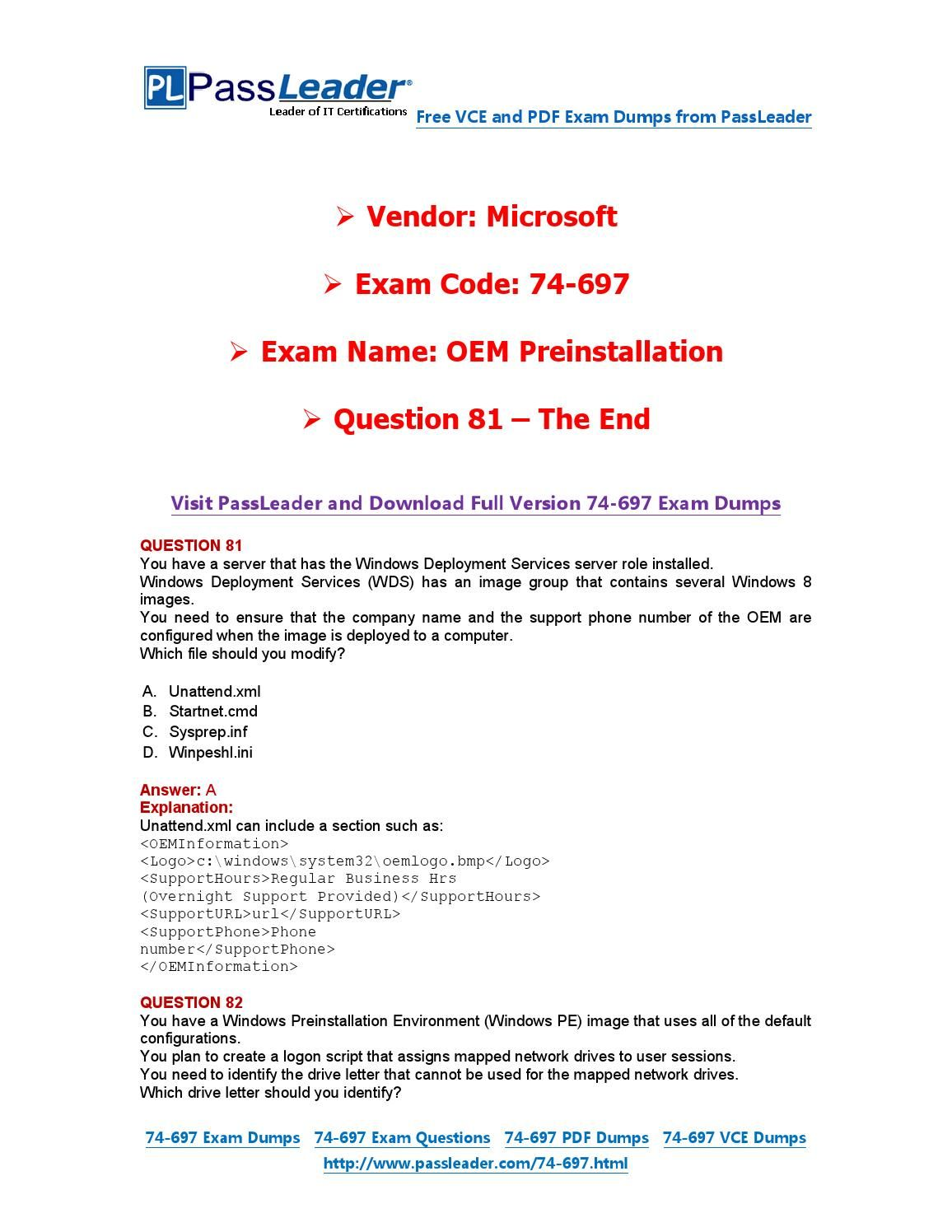 74-697 Exam Dumps with PDF and VCE Download (81-end)