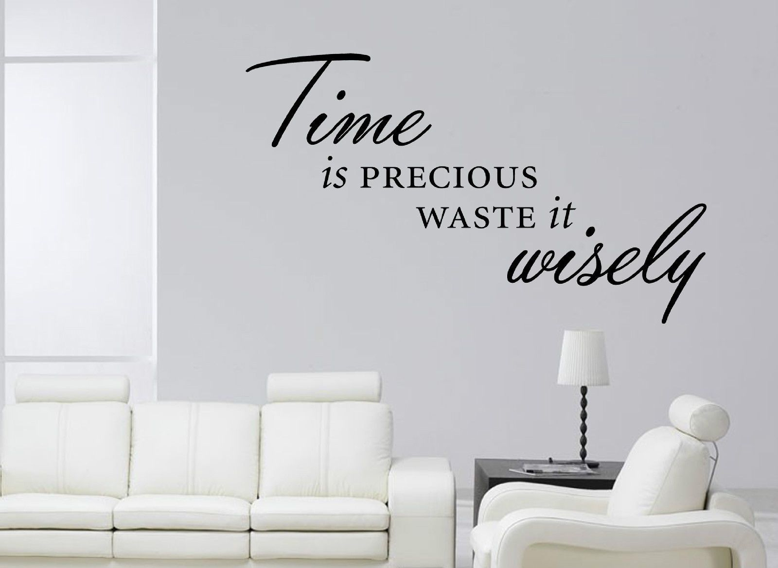 Time is precious waste it wisely wall art sticker quote decal modern