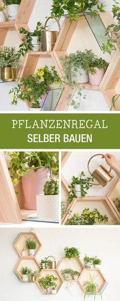 Diy anleitung f r ein pflanzregal in wabenform wohndeko - Diy pflanzenwand ...
