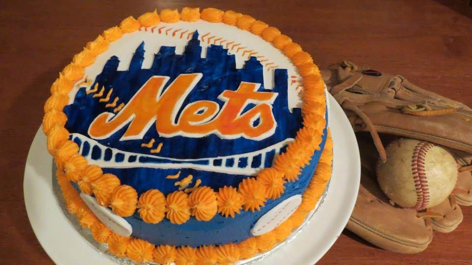 Let's go Mets! Fondant and buttercream cake