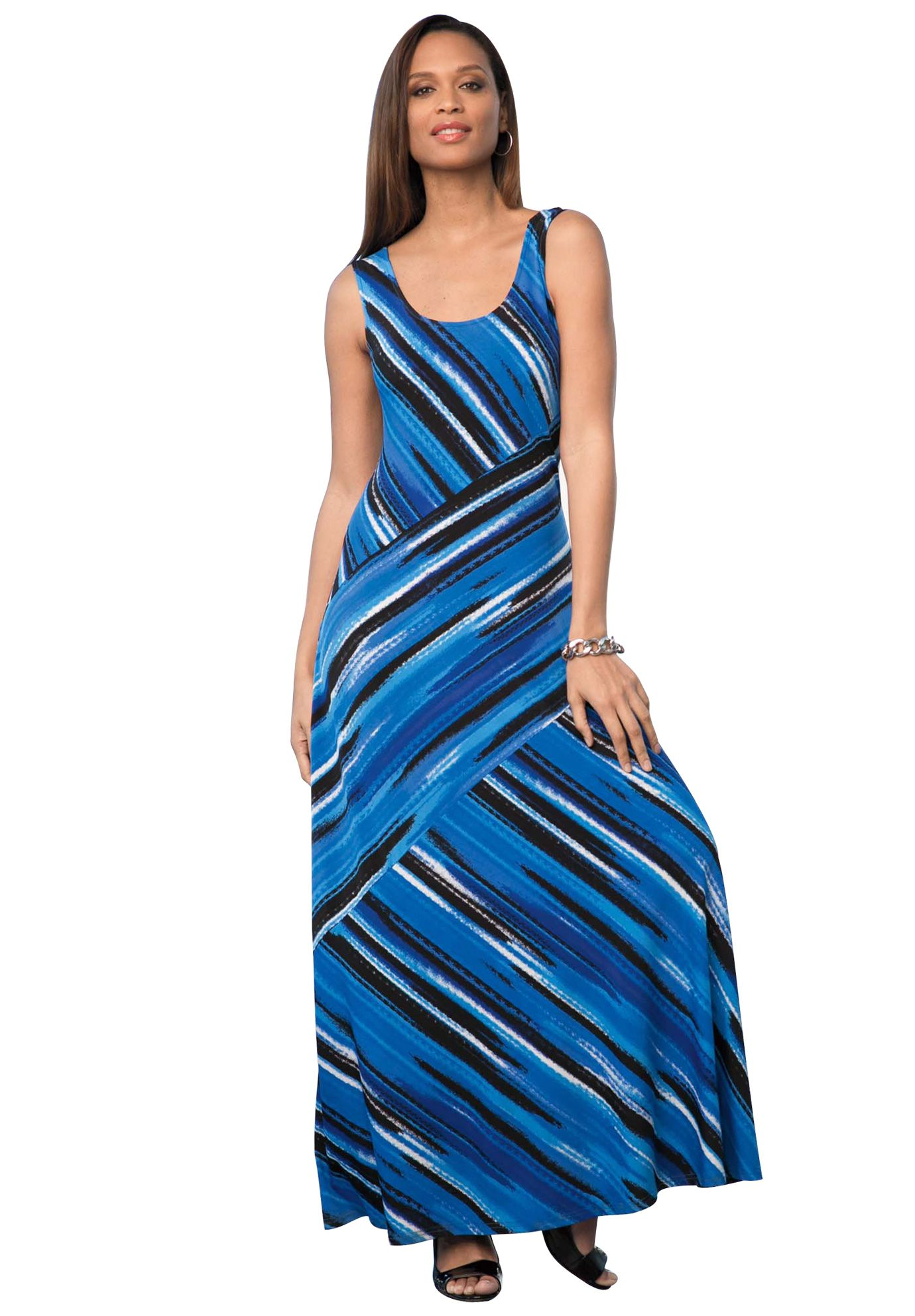 Asymmetrical Maxi Dress from Jessica London! For tall girls like me, I could totally pull this off!  I might also be tempted to shorten it, depending on the fabric. Nice use of stripes... No horizontal, and the placement should detract from my bulges!