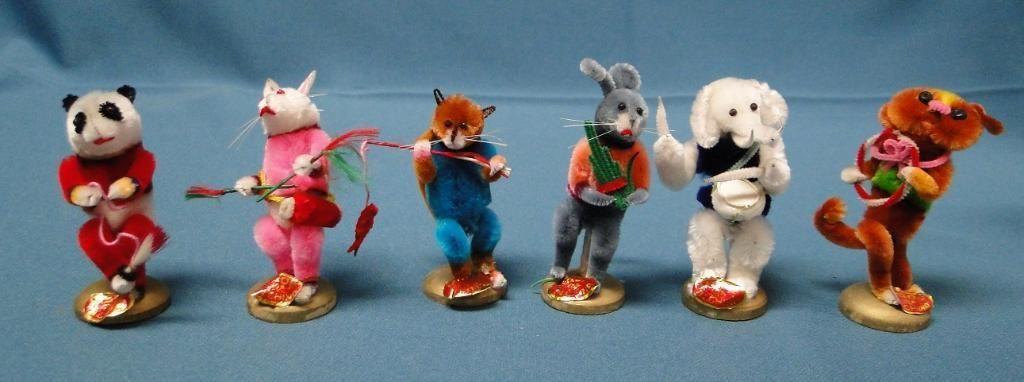 Lot 6 Vintage Chenille Pom Pom Pipe Cleaner Animals Mouse Rabbit Panda Elephant | eBay