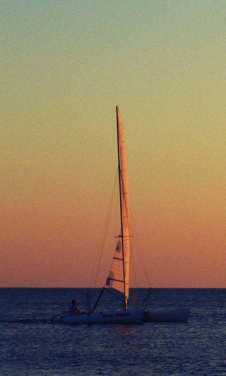 Et bientôt, on ne distinguait plus que sa #voile à l'#horizon...  #sunset #sailing #boat #sea #adventure