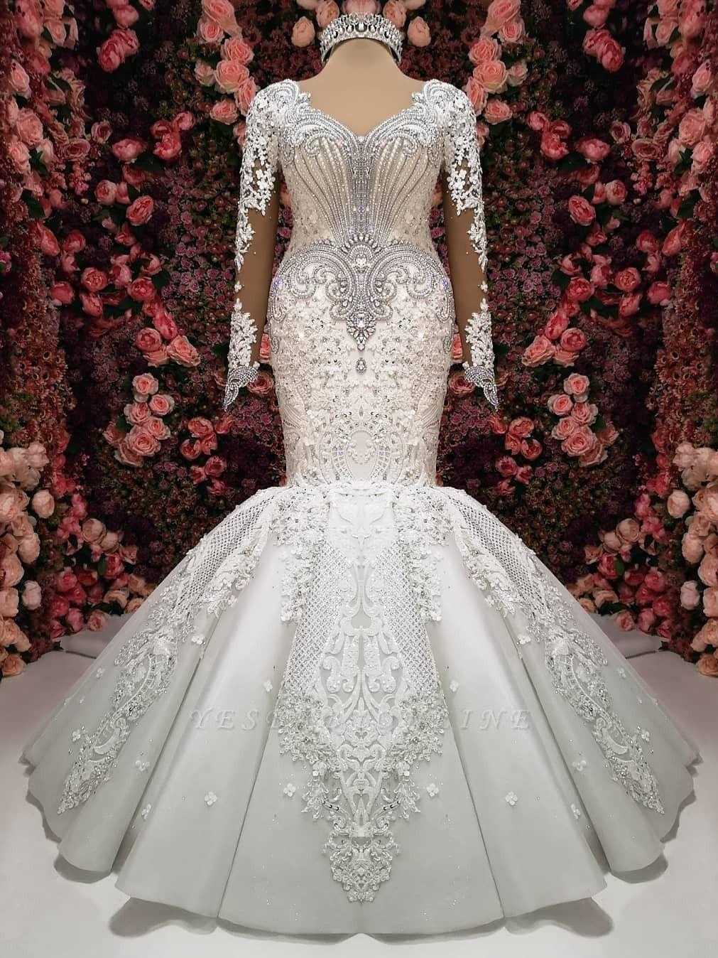 Charming Crystals Mermaid Bridal Gowns Long Sleeves