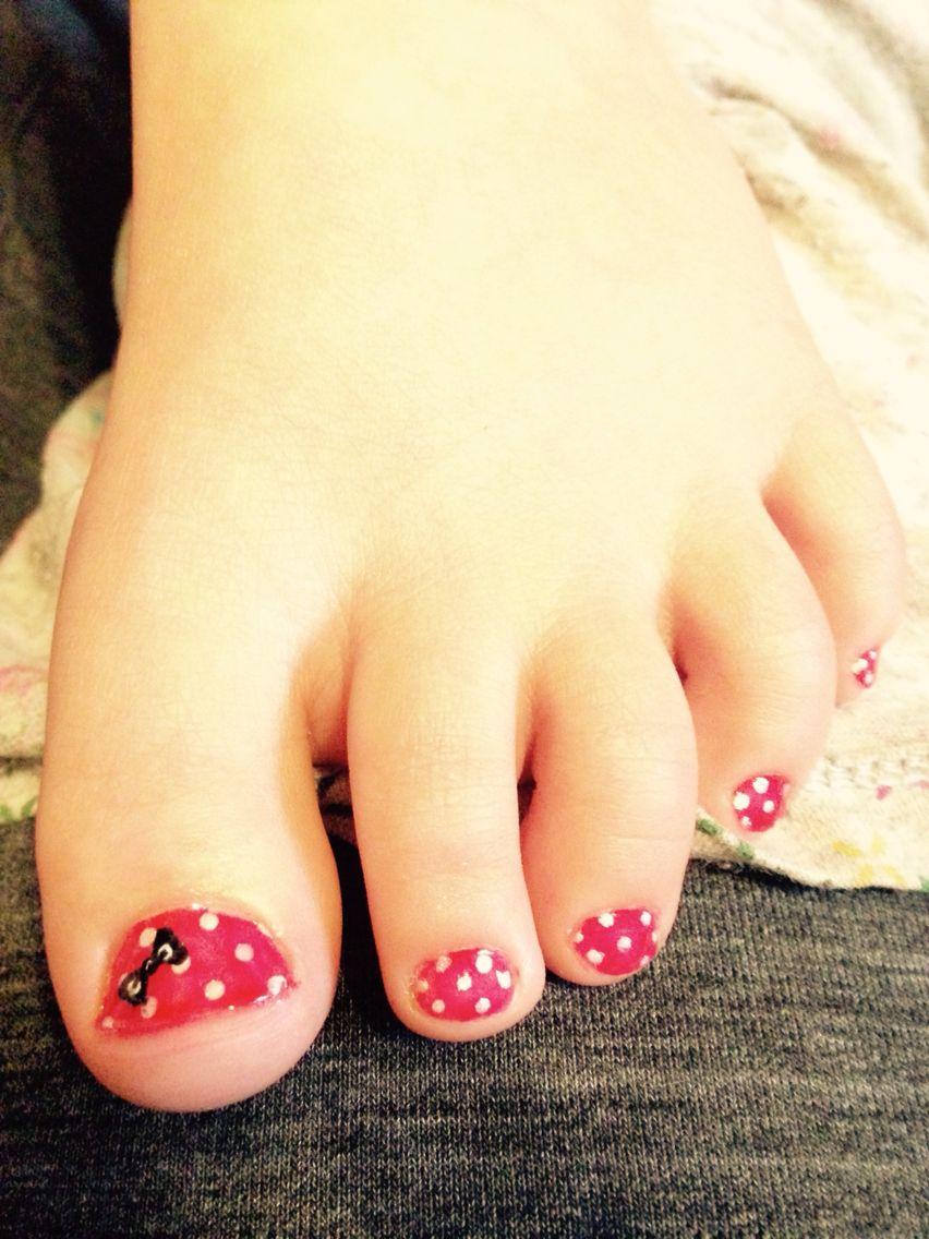 Toddler Polka Dot With Bow Toenail Design Red White Black My Nail