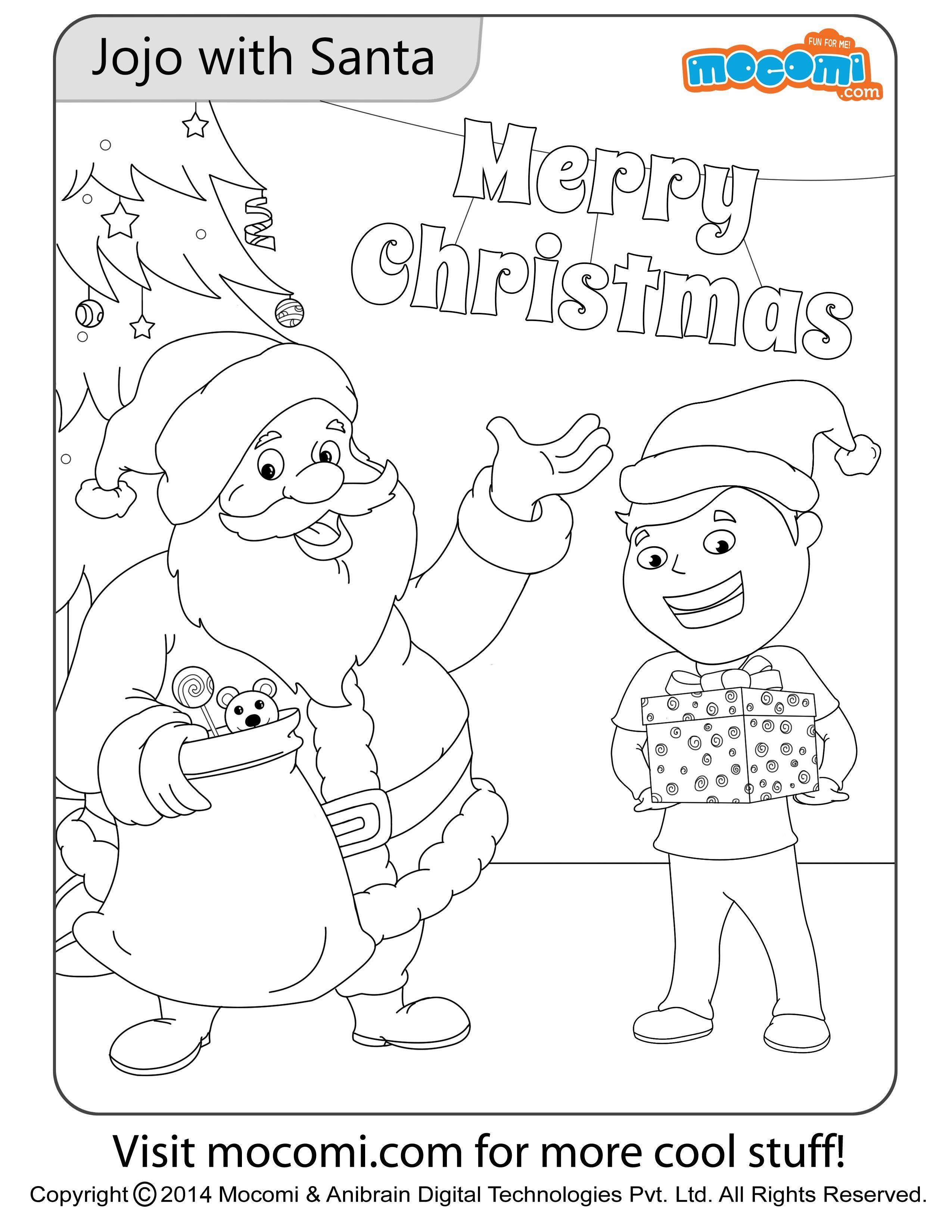 Jojo With Santa Colouring Page