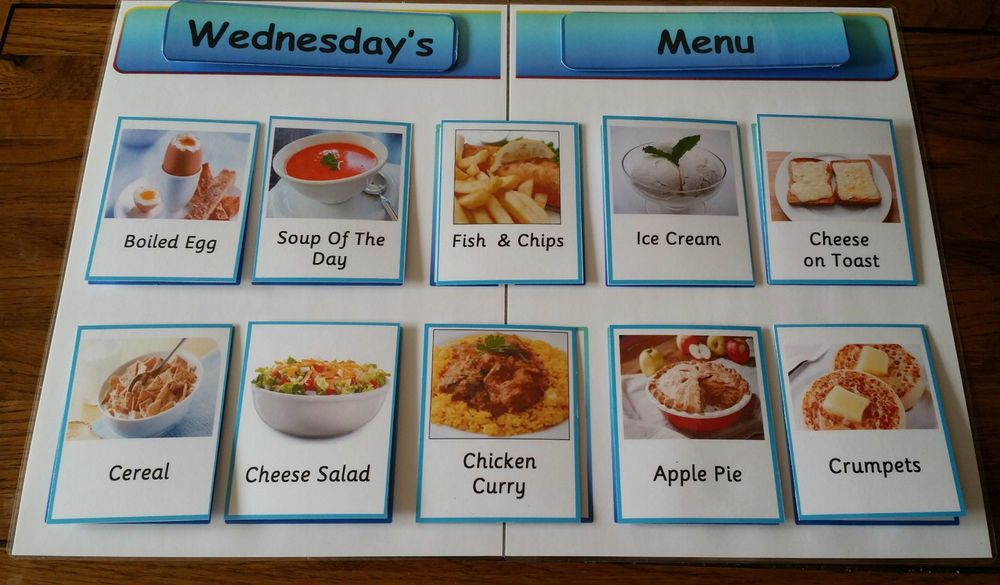 Care Home Menu Board + 140+ meal cards Velcro fitted